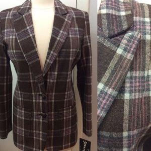 NWT Brown Tan Pink Plaid Wool Blend Blazer Sz S